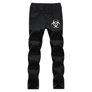 Resident Evil Logo Printed Men's Autumn winter casual pants Printing elastic waist fleece men's trousers Sweatpants blackGrey