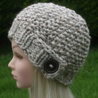 Hand Knit hat- Women's hat- Cream tweed with dark brown wooden button- winter hat- Rustic Mega Chunky with wool