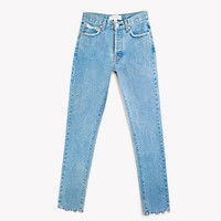 Skinny Stone High Rise Button Fly Jeans