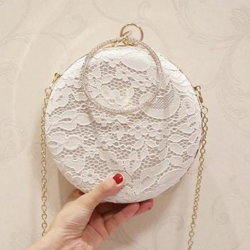 Fashion Women Lace Evening Clutch Bag Diamonds Handle White pink Chain Shoulder Small Evening Bag For Wedding Brides Handbag
