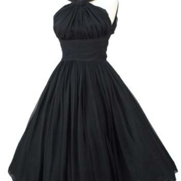 1960s Black Chiffon Halter Style Full Skirt Dress-Vintage Party Dresses