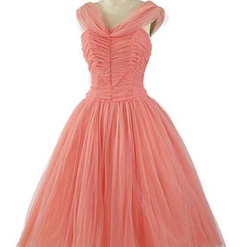 50s Coral Pink Chiffon Tea Length Party Dress #chiffondress #promdress #coraldress #50spartydress #1950sdress