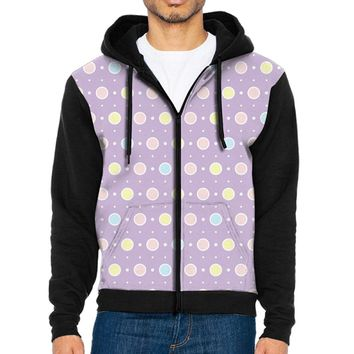 Cuihualili Pattern Floral Men's Fashion Hooded Pocket Zipper Hit Color Sweatshirt