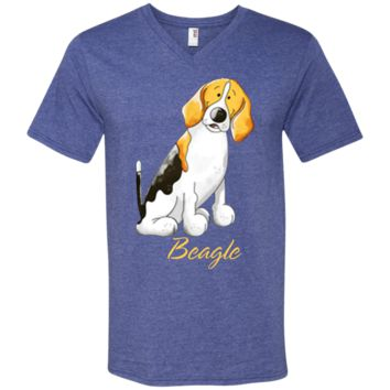 Bobby Beagle t shirt 982 Anvil Men's Printed V-Neck T-Shirt