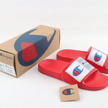 Champion Life Youth Slide Sandals Repeating Logo Red White - Best Online Sale