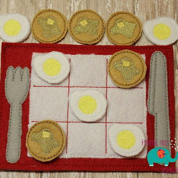 Breakfast egg pancake tic tac toe game embroidered, board game activity travel game quiet game busy bag felt board play set placemat fork