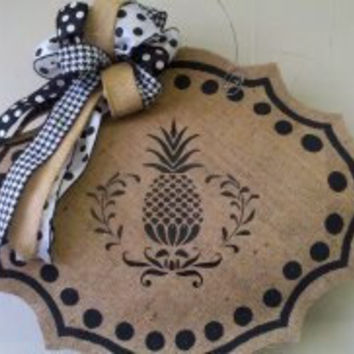 Colonial Williamsburg Pineapple Welcome Burlap Door Wall Hanger Classy Cute Handpainted Wreath FREE Gift with Purchase