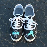 Hair Stylist Girly Scissors and Hair Dryer Inspired Hand Painted Shoes