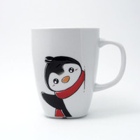 White mug with shy penguin, penguin, message mug, christmas gift, penguin mug,  kid mug, christmas mug, winter mug