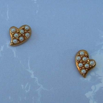 AVON Small Heart Seed Pearls Post Earrings
