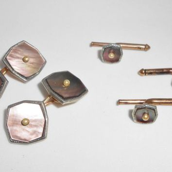 Art Deco Cufflinks & Button Studs Gold Filled Abalone Seed Pearls Suit Tie Accessories Men Gifts 1930's