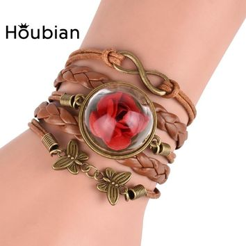 Houbia Glass Ball Rose Leather Charms Bracelets For Women infinity Butterfly Bracelet Wristband Bangle Beauty Beast Jewelry Gift
