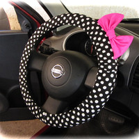 by (CoverWheel) Steering wheel cover for wheel car accessories Black polka dot wheel cover with neon fuchsia bow