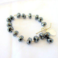 Grey hematite bracelet, large faceted hematite tennis bracelet, stacker bracelet