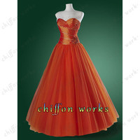 A-line Strapless Sleeveless Floor-length TULLE homecoming dress prom dress wedding dress Bridesmaid Dress With Beading