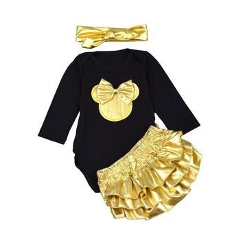 3pcs Rompers + Headbands + Golden Shorts Infant Clothing Set
