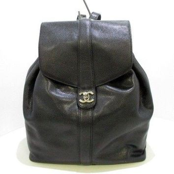Auth CHANEL Caviar Skin Black Backpack