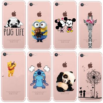 Clear Soft Silicone TPU The Winnie Pooh Unicorn Mickey Mouse kiss Phone Cases Cover For iPhone 6 6S Plus 5 SE 7 7Plus 8 8 Plus X