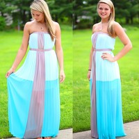 The Empress Maxi Dress in Jade Blue