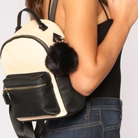Pom Of Your Hands Backpack - Beige/Black
