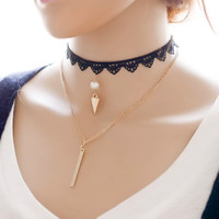 New Arrival Shiny Gift forever21 choker Jewelry Stylish Ladies Korean Lace Simple Layered Design Necklace [7786547143]
