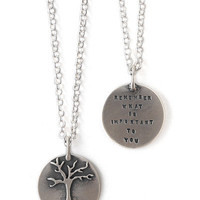 'REMEMBER WHAT IS IMPORTANT' NECKLACE | Sterling Silver Tree Charm And Quote By Kathy Bransfield | UncommonGoods