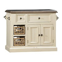 5465 Tuscan Retreat ® Medium Granite Top Kitchen Island with 2 (Two) Baskets - Country White Finish