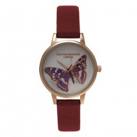 Woodland Butterfly Burgundy and Gold – Vintage inspired fashion watches by Olivia Burton