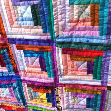 Log Cabin Quilt, Wall Hanging, Home Decor, Hand Sewn, Ready to Ship, Baby Blanket, Batik Fabric, Brightly Colored Quilt
