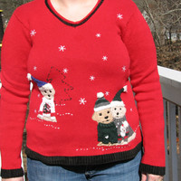 tacky sweater, tacky christmas sweater, dog sweater, christmas sweater, red sweater, ugly sweater, animal sweater, tacky sweater party,