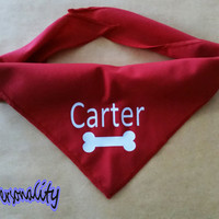 Personalised Dog Bandana with Bone Print , Choice of Colours and Sizes FREE UK P&P