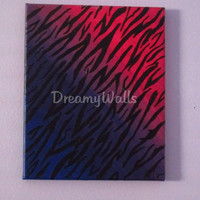 Girls Zebra Art, High Fashion Painting on Canvas, Teen Decor