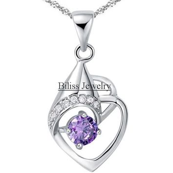 SHIPS FROM USA Eternal Love Teardrop Heart Pendant Necklace with Purple / White Cz Cubic Zirconia Necklace Jewelry For Women Gifts