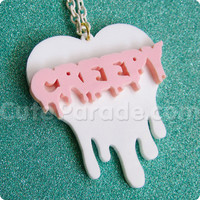 Strawberry Milk Melting Dripping Creepy Heart Necklace Kawaii Fairy Kei Creepy Cute