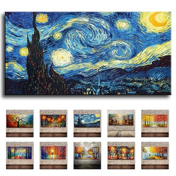 Palette Knife Large Multicolor Abstract Oil Painting On Canvas Modern Home Wall Art Decor Picture For Living Room 3D Gift Lovers