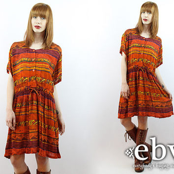 Vintage 90s Ethnic Print Hippie Boho Tent Dress L XL Hippie Dress Hippy Dress Indian Dress Boho Dress Festival Dress Plus Size Dress