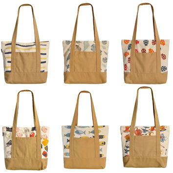 Vintage Style Pattern Printed 100% Cotton Canvas Vintage Shoulder Bags WAS_13