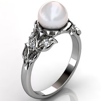 14k white gold South Sea pearl diamond unusual unique floral engagement ring, bridal ring, wedding ring ER-1067-1