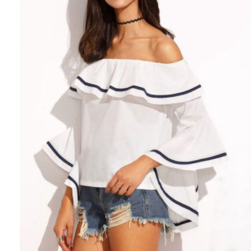 Elegant Women Blouses 2016 Summer Sexy Butterfly Sleeve Slash Neck Off Shoulder Shirts Casual Ruffles Blusas Femininas Tops