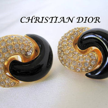 Vintage Christian Dior Rhinestone Black Earrings