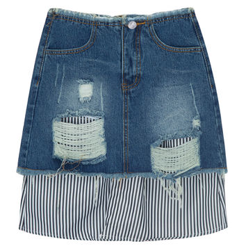 Blue High Waist Ripped Contrast Panel Denim Mini Skirt