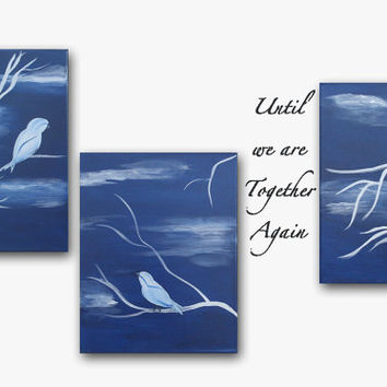 Original Painting Triptych Paintings Canvas Wall Art Love Bird Painting Tree Painting Blue Painting with Silver Military Art Patriotic Art