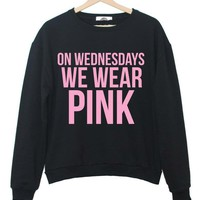 Harajuku Women Sweatshirt Jumper ON WEDNESDAYS WE WEAR PINK Letters Casual Hoody For Lady Funny Hipster White Black TZ203-80