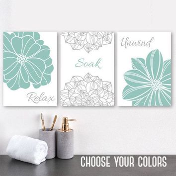 BATHROOM Flower Wall Art Canvas or Prints  Seafoam Gray Bathroom Wall Decor, Relax Soak Unwind, Bathroom Quotes Wall Art Decor, Set of 3