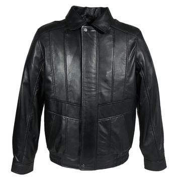 Mens Classic Black Bomber Leather Jacket