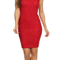 Lace Close Neck Sleeveless Bodycon Short Party Dress Red