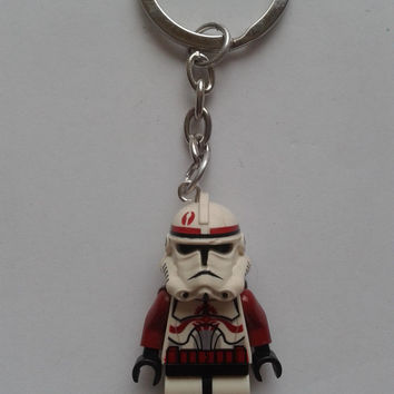 Star Wars clone Trooper minifigure keychain keyring made with LEGO® bricks