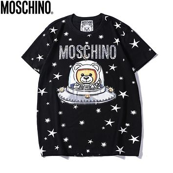 Moschino New fashion bear star print couple top t-shirt Black