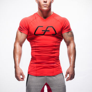 Short Sleeve Patchwork Gym Slim T-shirts [10657853571]