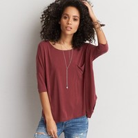 AEO SOFT & SEXY DRAPED POCKET T-SHIRT